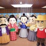 イメージキャラクターのみなさま。左から岩崎弥太郎、お龍、龍馬、中岡慎太郎、中浜万次郎(ジョン万次郎)